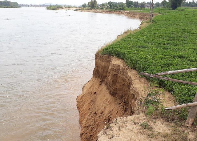 """Bình Định:  Hai bờ """"lở loét"""", sông Kôn nổi giận, người dân kinh hãi!"""